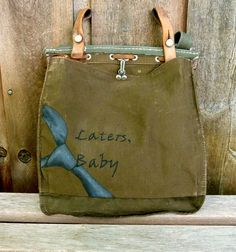 Hand Painted Fifty Shades of Grey Inspired Vintage Swiss Military Satchel. $56.00, via Etsy.