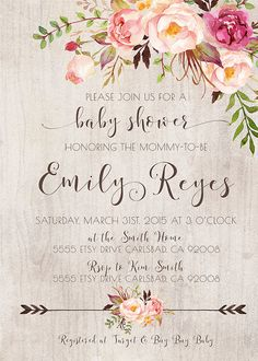 Rustic arrow watercolor flower baby shower invitation kirrareynadesigns.etsy.com