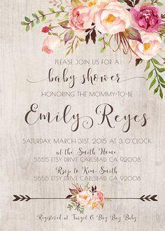 Baby Shower Invitation Girl Boho Rustic Arrow by KirraReynaDesigns