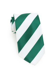 Slim necktie - Green plain weave, ribbed stripes in two blues Notch