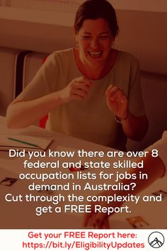 Did you know there are over 8 federal and state skilled occupation lists for jobs in demand in Australia? Cut through the complexity and get a FREE Report. Did You Know, Australia, Tips, Free, Federal, Counseling