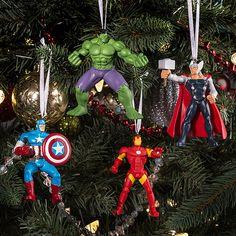 Marvel Comics Hulk, Captain America, Thor and Iron Man Christmas Ornaments