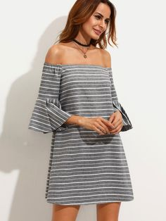 Shop Grey Striped Ruffle Sleeve Off The Shoulder Dress online. SheIn offers Grey Striped Ruffle Sleeve Off The Shoulder Dress & more to fit your fashionable needs.