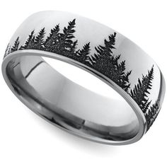This domed men's wedding band features a serene pine forest pattern laser carved into cobalt for a unique look. This domed men's wedding band features a serene pine forest pattern laser carved into cobalt for a unique look. Ring Set, Ring Verlobung, Leaf Ring, Wedding Men, Men Wedding Rings, Tree Wedding, Gold Wedding, Wedding Unique, Wedding Ideas