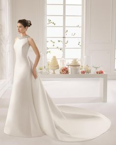 Wholesale A-Line Wedding Dresses - Buy Crew Sheer Satin Backless Bow On Back Wedding Dresses Beads Crystal Wedding Gowns Beads On Bow Sexy Satin Prom Party Gown For Wedding HL1738, $164.4 | DHgate.com