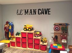 Our boys playroom! It really is their lil man cave! Our boys playroom! It really is their lil man cave! The post Our boys playroom! It really is their lil man cave! appeared first on Toddlers Ideas. Creative Toy Storage, Storage Ideas, Baby Storage, Kids Storage, Storage Bins, Playroom Storage, Truck Storage, Basement Storage, Toddler Rooms