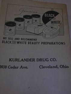Vtg Genuine Black and White Beauty Advertising Booklet Luck Book Kurlander Ohio #BlackandWhiteKurlanderDrugCo