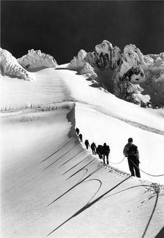 Mazamas Making Their Way up the Hogsback towards the Summit of Mt. Hood, 1963, a 20x200 Vintage Edition - 20x200 (from $24)