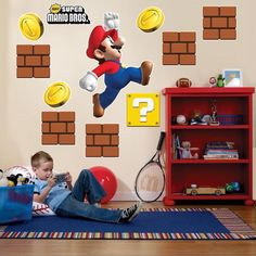 """Super Mario Bros. Giant Wall Decals Decals are made of vinyl and are for use on smooth, flat surfaces. Includes 1 large Super Mario character (22""""wide x 30"""" high), five brick stacks, 3 gold coins, 1 question mark on gold background, and 1 """"New Super Mario Bros."""" logo. Includes 3"""" yellow squeegee as well as full use and care instructions. Weight (lbs) 1.95 Length (inches) 45 Width (inches) 4.5 Height(inches) 4.5 Birthday Party Supplies Birthday Unisex Child"""