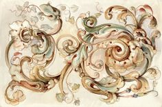 Ornament in watercolor #wallpaper - Baroque - rebelwalls.com