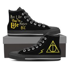 <3 Show off your love for Harry Potter with these amazing Run Like You're Late 9 3/4 Womens HiTops! Grab yourself a pair today! Click to learn more.