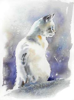Risultati immagini per chat dans l'escalier aquarelle Watercolor Cat, Watercolor Animals, Watercolor Paintings, Watercolors, Cat Drawing, Painting & Drawing, Illustrations, Illustration Art, Image Chat