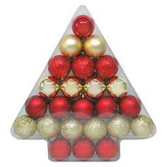 24ct 40mm Red Gold Shatterproof Christmas Ornament Set - Wondershop™
