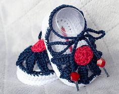 Sandalias de niña, muchacha del bebé el 4 de julio zapatos, zapatos de bebé ganchillo, zapatos de verano de flores, zapatos de primavera, sandalias Daisy alpargata, zapatos de la muchacha