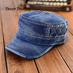 3af7858069c Stylish 2015 Fashion Flat Top Jeans Military Hat For Men Women Cadet Patrol  Bush Hat Denim