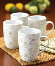 Love this Green Curly-Q Mug - Set of Four on #zulily! #zulilyfinds