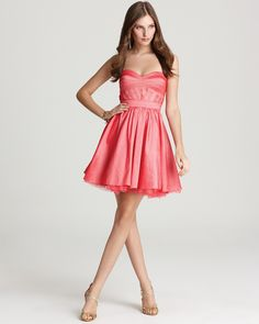 Coral Pink Dress - Strapless