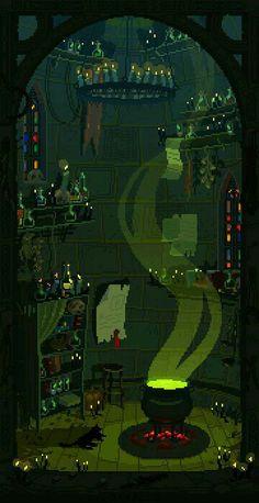 A spooky pixel art scene from artist Waneela. Pixel Art Gif, How To Pixel Art, Fröhliches Halloween, Halloween Prints, Animation Pixel, Arte 8 Bits, Digital Foto, 8bit Art, Pixel Art Games