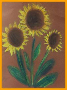 Auringonkukkia pölypastelleilla ruskealle paperille (1-2lk) Autumn Crafts, Autumn Art, Art Lessons, Ladybug, Art For Kids, Arts And Crafts, Pastel, Plants, Handmade