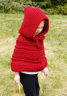 Kids Hand Knit Hooded Cowl Shawl Little Red by BoPeepsBonnets, $68.00