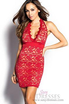 Yasmina Red Plunging Neckline Lace Halter Dress #PinYourWish @shopsexydresses
