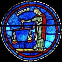 Chartres ~ Centre-Val de Loire ~ France ~ Notre Dame Cathedral ~ Libra : Sign of the Zodiac (circa Medieval Stained Glass, Stained Glass Angel, Faux Stained Glass, Fused Glass Art, Leaded Glass, Stained Glass Windows, Mosaic Glass, Libra Art, Libra Sign