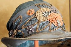 French Laundry: Hats off to you! Antique ribbon work-a love story, part 2 French Laundry: Hats off to you! Antique ribbon work-a love story, part 2 Ropa Shabby Chic, 1920s Hats, Vintage Outfits, Vintage Fashion, 1930s Fashion, Victorian Fashion, Fashion Fashion, Embroidered Hats, Shoes