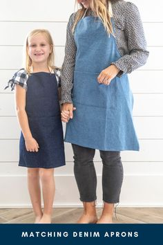 Treat mom to a matching apron set this Mother's Day. These denim aprons are perfect for you and your little who loves to be in the kitchen. Baking together is such a great way to spend quality time together this Mother's Day. Click through to shop all of our apron sets. Denim Fabric, Cotton Fabric, Beautiful Handwriting, Linen Apron, Kids Apron, Made Goods, Meaningful Gifts, Quality Time, Dark Denim