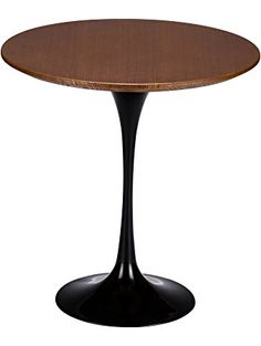Poly and Bark Eero Saarinen Tulip Style Walnut Top Side Table, 20-Inch, Black Base ❤ Poly and Bark