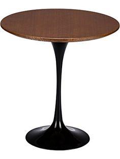 Poly and Bark Eero Saarinen Tulip Style Walnut Top Side Table, 20-Inch, Black Base ❤ Poly and Bark
