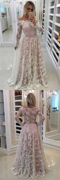A-Line Off-the-Shoulder Prom Dress with Lace Appliques Sleeves PG535 #promdress #eveningdress #lace #dress #pgmdress #fashion