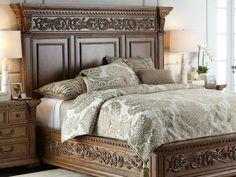 Brown wood bedroom furniture - Bed made of rubberwood and acacia veneers Framed pilasters with corbel blocks Assembly required 94 W x 92 L x 72 T Imported Traditional Bedroom Furniture Sets, Wood Bedroom Furniture, Home Furniture, Furniture Online, Luxury Furniture, Walnut Furniture, Ottoman Furniture, Mirrored Furniture, Leather Furniture