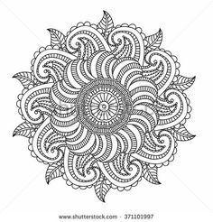 ornamental round pattern with floral elements for smart modern coloring book for adult shirt design