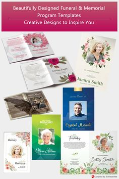 These creatively designed funeral program templates are great for any memorial or funeral event. All text and graphics in the files are editable, color coded and simple to edit. Funeral Memorial, Facebook Timeline Covers, Program Template, Floral Theme, Family Memories, In Loving Memory, Print Templates, Beautiful Roses, Creative Design