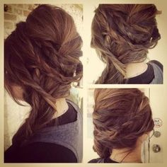 Grecian inspired braids. Looks like simple braids and teasing, just well executed. Want to try.