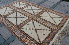 "Turkish Kilim Flat Woven Kilim, Turkish Kilim Vintage Rug jijim rug  Cream White Kilim, ethnic rug cicim rug 10'2""x6'4.8"" / 310 x195cm"