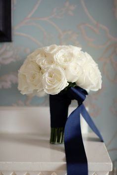 white and pink roses bouquet blue ribbon - Google Search
