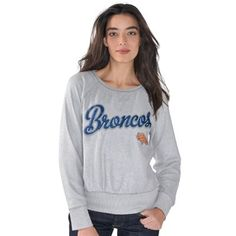 1e4008294d Women s Denver Broncos G-III 4Her by Carl Banks Silver Cover 2 French Terry  Crew Long Sleeve T-Shirt