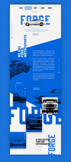 Designspiration — Design Inspiration - car vintage tyography simple UI user interface blue white black muscle forge bold