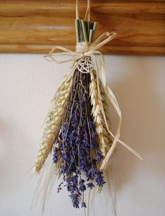 Harvest Dried Lavender & Wheat Bunch with Pentacle or Goddess charm. Witch Kitchen Decoration.