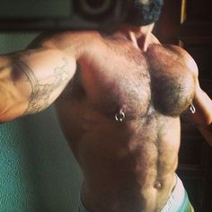 """malenippleworship: """"Fap to hot Gay Nipple Porn """" Male Chest, Hairy Chest, Cool Peircings, Sexy Beard, Poses For Men, Muscle Bear, Bear Men, Hairy Men, Male Body"""