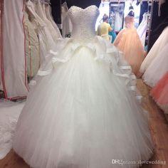 La imagen real Coral Quinceañera vestidos de Vestidos de 15 años perlas encaje de tul vestido de dulce 16 barato Prom vestidos de bola Vestidos 2016