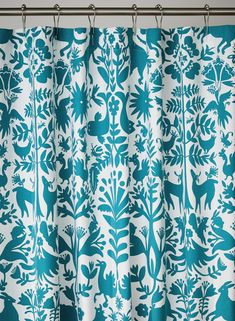 Hygge & West's Otomi (Turquoise) shower curtain is made with screen printed cotton canvas. The perfect way to add pattern to your bathroom. Nautical Shower Curtains, Fabric Shower Curtains, Turquoise Wallpaper, Modern White Bathroom, Simple Bathroom, Craftsman Bathroom, Colorful Curtains, Colorful Shower Curtain, Hygge