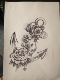 Tattoos For Women Flowers, Foot Tattoos For Women, Small Flower Tattoos, Tattoo Designs For Women, Anchor Tattoos With Flowers, Tattoo Women, Floral Tattoo Design, Flower Tattoo Designs, Anker Tattoo Design