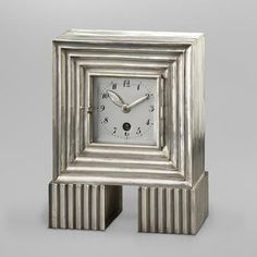 Josef Hoffmann (1870-1956), Wiener Werkstätte, Silver Clock.