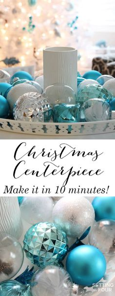 See how you can decorate your home for the holidays in just 10 minutes with this beautiful Christmas centerpiece tray! I'll show you step by step how to display your favorite Christmas ornaments in a pretty way where there is no Christmas tree required! This Christmas display is such a fabulous festive way to decorate your coffee table, foyer table, dining table or kitchen island in record time.