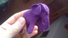 Purple baby elephant - wool stuffed elephant - wool felt animal - role play- gift for children - toy for girls-natural gift for Woman