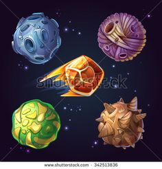 Fantastic planets, moons and asteroid sci-fi starry space background. Celestial astronomy and cosmos meteorite. Vector illustration in cartoon comic style