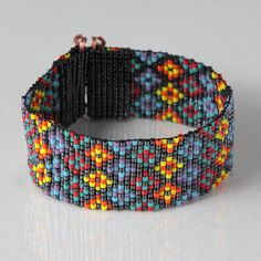 Stained Glass Bead Loom Bracelet - Artisanal Jewelry - Southwestern - Orange Red - Native American Style Beaded Jewelry - Bohemian - Tribal