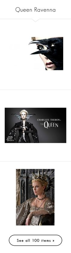 """""""Queen Ravenna"""" by turbulentbeauty ❤ liked on Polyvore featuring bird, movie, people, charlize theron, photos, pictures, backgrounds, costumes, snow white halloween costume and snow white costume"""